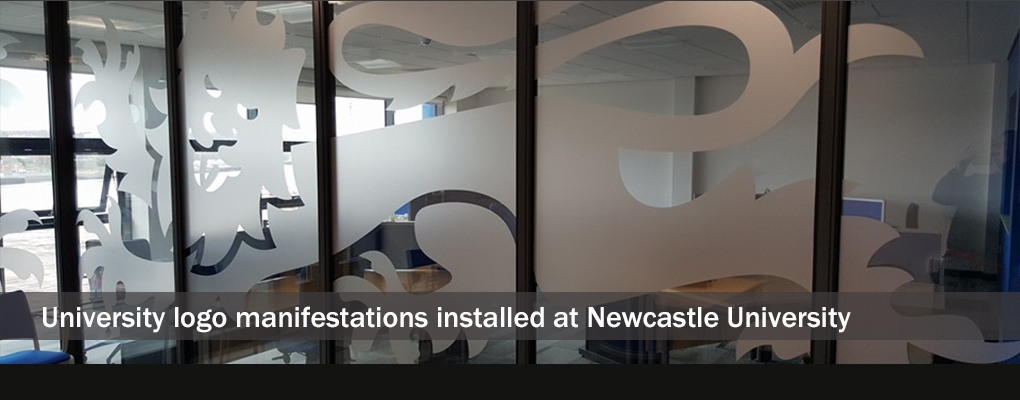 SLIDE 14 - University logo manifestations installed at Newcastle University